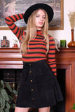 Vintage 70s Black Suede Snap Front Patch Pocket Mini Skirt
