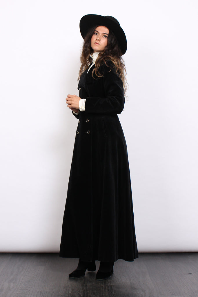 Vintage 70s Black Velvet Double Breasted Gothic Maxi Coat