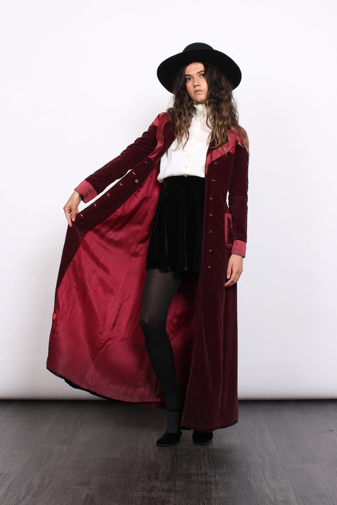 Vintage 70s Crowthers Burgundy Velvet Satin Double Breasted Coat