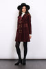 Vintage 60s Burgundy Velvet Cord Double Breasted Pea Coat