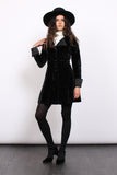 Vintage 60s Black Velvet Satin Regency Collar Gothic Coat