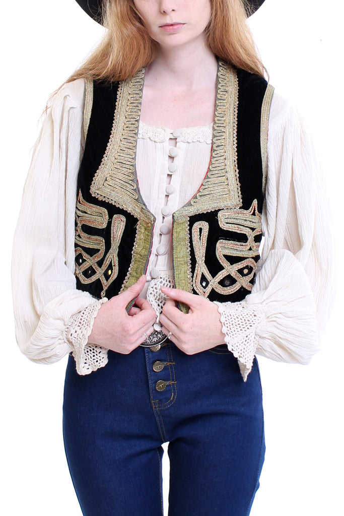 Antique Ottoman Embroidered Velvet Vest