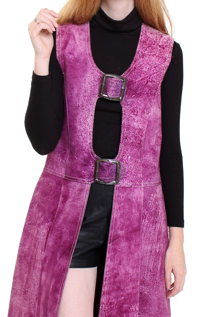Vintage 70s Purple Suede Buckle Long Vest