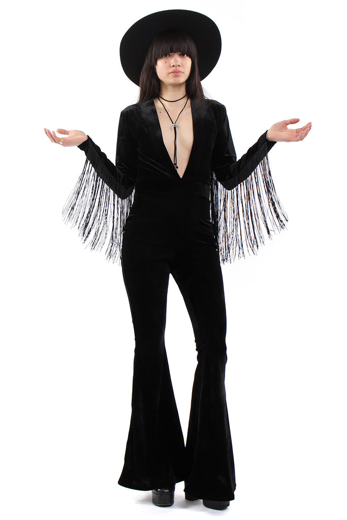 Widow Velvet Fringe Plunge Bell Bottom Jumpsuit