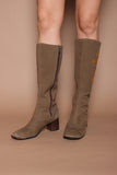Vintage 60s Embroidered Canvas Hippie Mod Knee High Boots