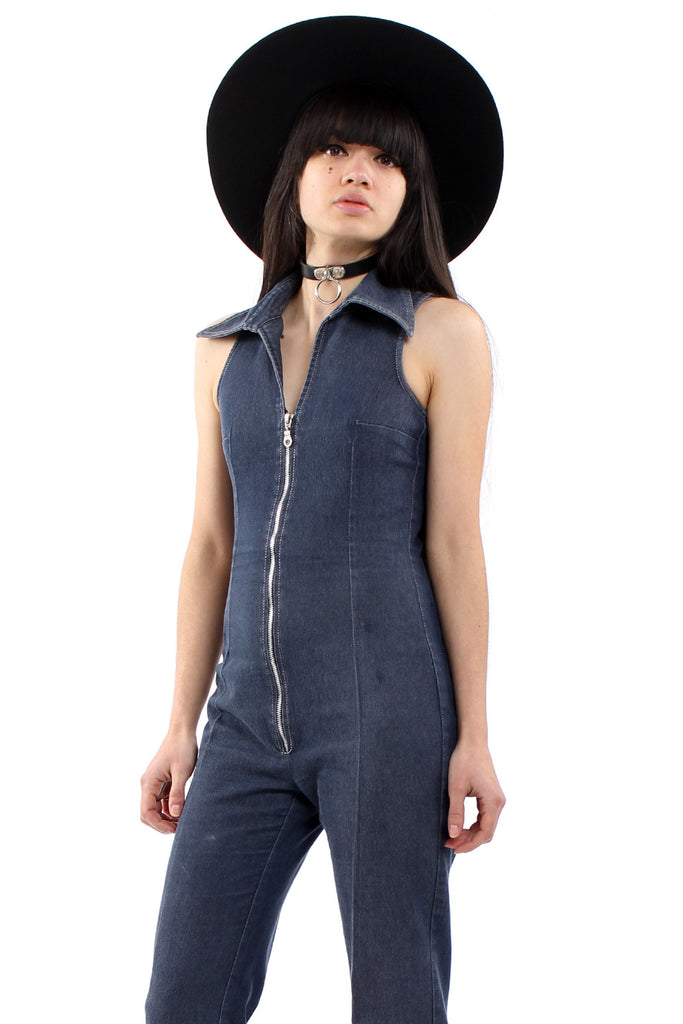 Vintage 90s Denim Zip Up Flared Jumpsuit
