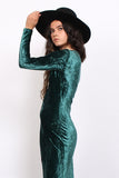 Vintage 90s Emerald Crushed Velvet Bodycon Maxi Dress