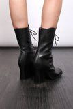Vintage 90s Black Leather Lace Up Victorian Goth Boots