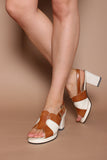 Vintage 70s Tan Cream Faux Leather Hippie Platform Sandals