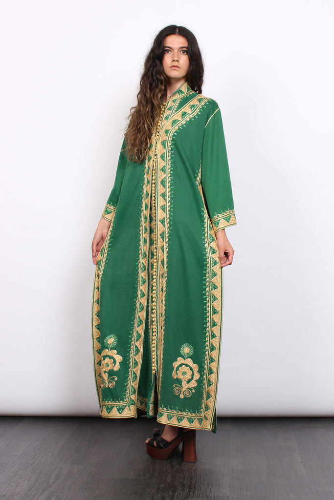 Vintage 70s Green Moroccan Embroidered Kaftan Two Piece Set