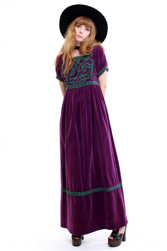 Vintage 70s Beverly Paige Plum Velvet Embroidered Maxi Dress