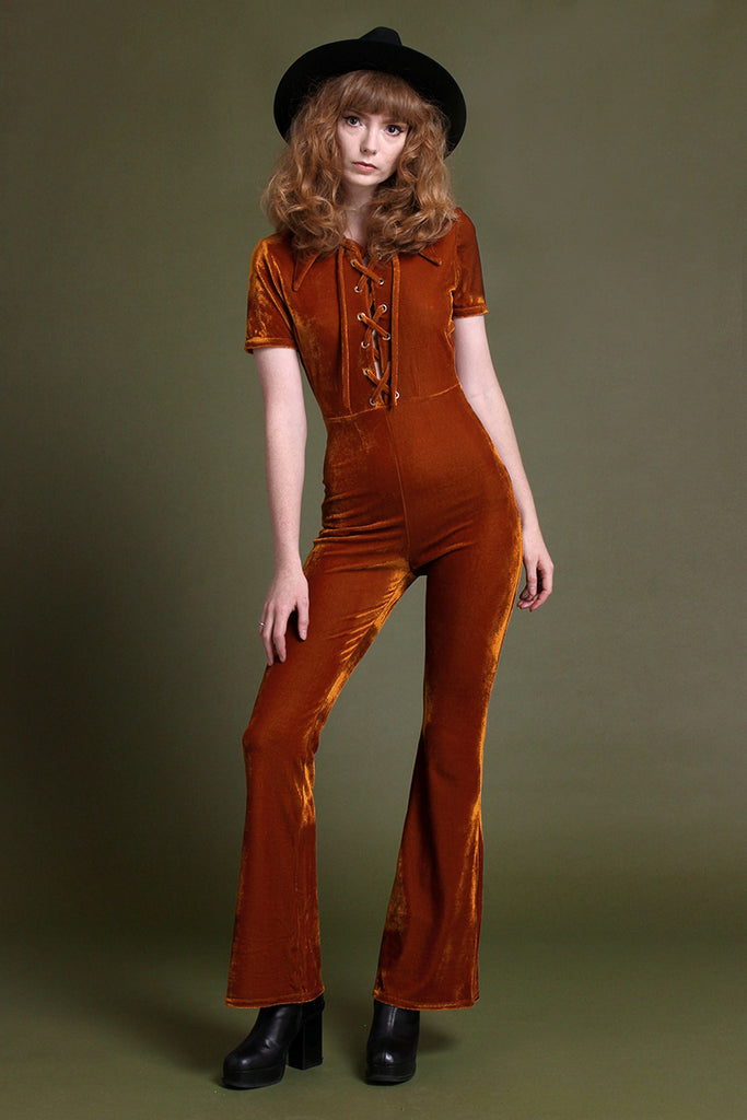 Venus Velvet Lace Up Collar Kick Flare Jumpsuit - Amber