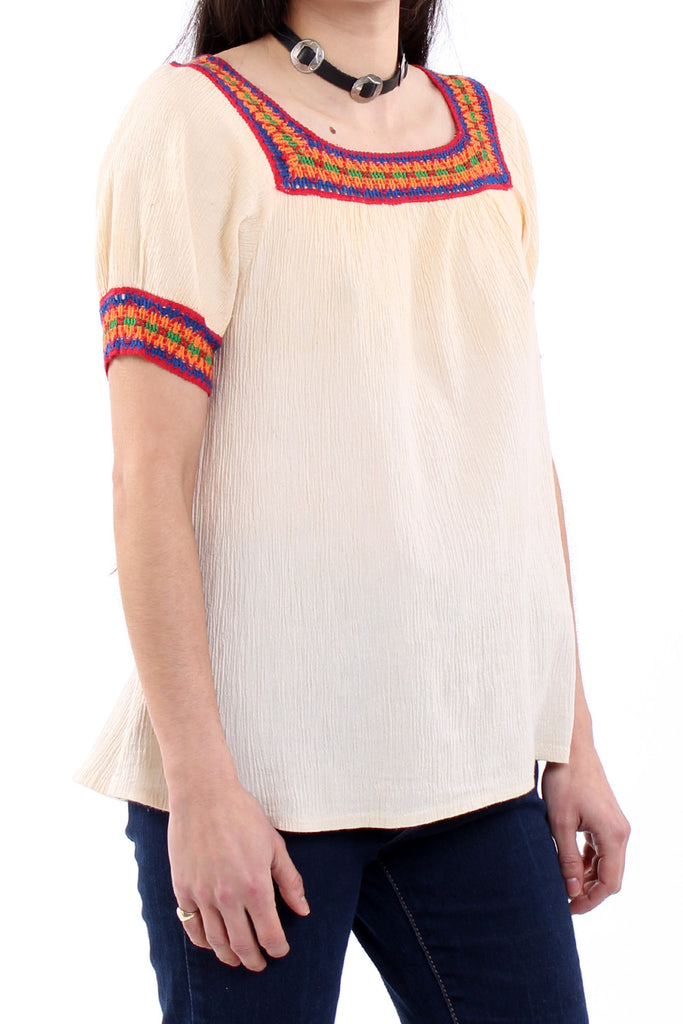 Vintage 70s Cream Cotton Gauze Gypsy Blouse