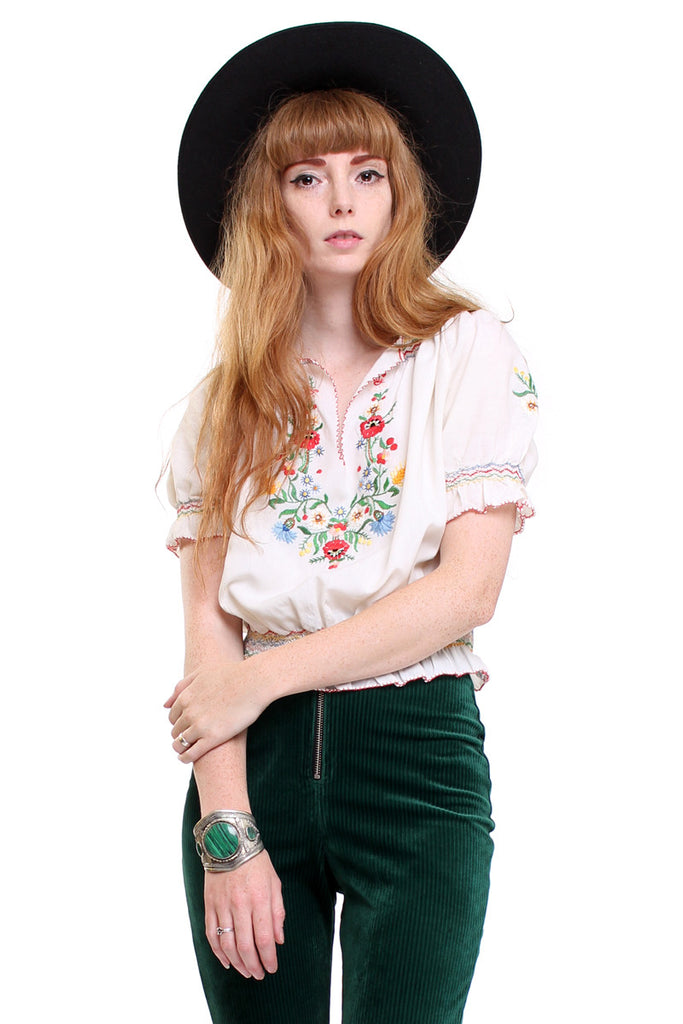 Vintage 70s Embroidered Gypsy Blouse