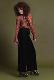 Basics Velvet Wide Leg Trousers - Onyx
