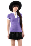 Vintage 70s Lavender Lace Up Ringer T-Shirt