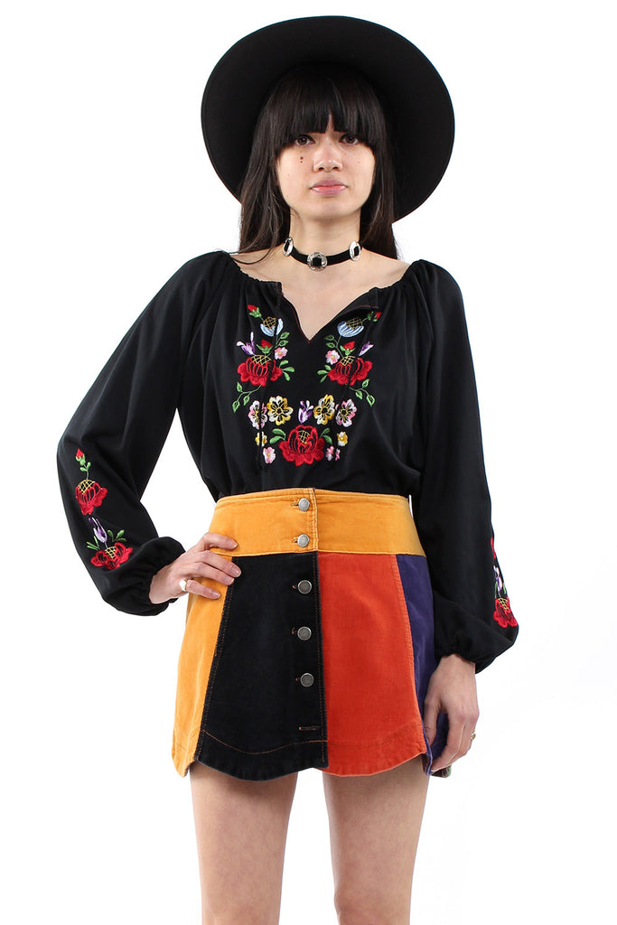Vintage 70s Black Embroidered Gypsy Blouse
