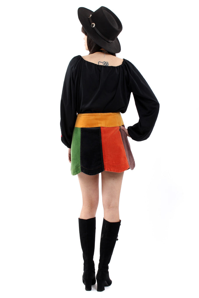 Vintage 90s Velvet Patchwork Scalloped Mini Skirt