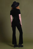 Venus Velvet Lace Up Collar Flared Jumpsuit - Onyx