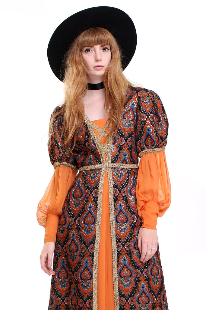 Vintage 70s Orange Brocade Medieval Maxi Dress