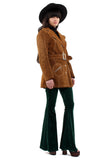 Vintage 70s Tan Suede Belted Buckle Jacket