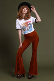 Basics Velvet Bell Bottoms - Amber