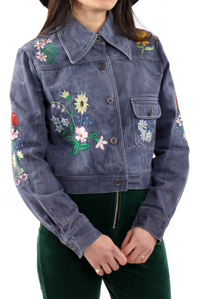 Vintage 70s Embroidered Cropped Denim Jacket