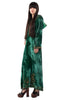 Vintage 60s Emerald Velvet Embroidered Kaftan Dress