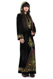 Vintage 70s Black Velvet Embroidered Kaftan Dress