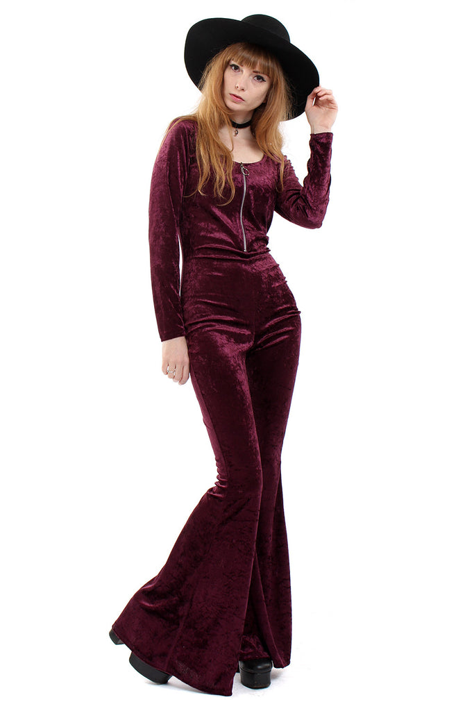 Sirius Crushed Velvet Zip Bell Bottom Jumpsuit - Aubergine