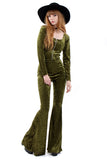Sirius Crushed Velvet Zip Bell Bottom Jumpsuit - Moss