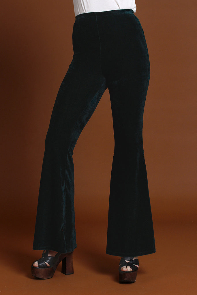 Basics Velvet Bell Bottoms - Emerald
