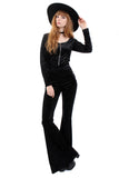 Sirius Crushed Velvet Zip Bell Bottom Jumpsuit - Midnight