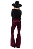 Sirius Crushed Velvet Zip Bell Bottoms - Aubergine