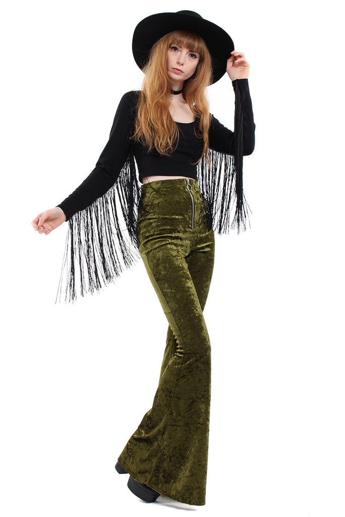Sirius Crushed Velvet Zip Bell Bottoms - Moss