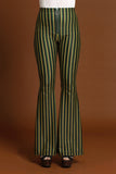 Spectrum Stripe O Ring Zip Bell Bottoms - Forest