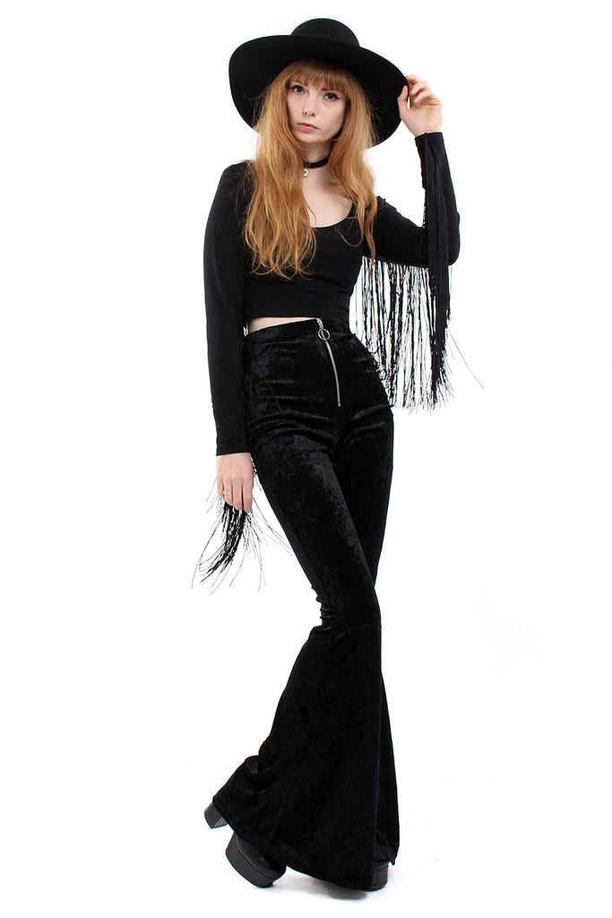 Sirius Crushed Velvet Zip Bell Bottoms - Midnight