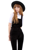Band of Gypsies Cord Dungaree Bell Bottom Jumpsuit - Charcoal