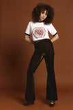 Basics Velvet Bell Bottoms - Moss