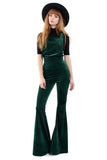 Band of Gypsies Cord Dungaree Bell Bottom Jumpsuit - Forest