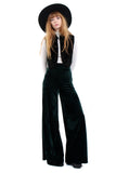 Basics Velvet Wide Leg Trousers - Emerald
