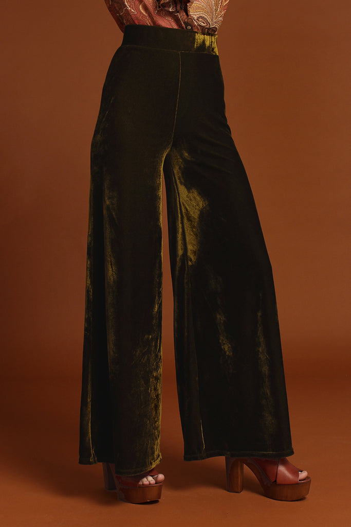 Basics Velvet Wide Leg Trousers - Moss