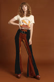 Orion Two Tone Velvet Buckle Bell Bottoms - Emerald