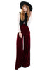 Basics Velvet Wide Leg Trousers - Garnet