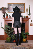 Vintage 80s Black Leather Snap Front Biker Shorts