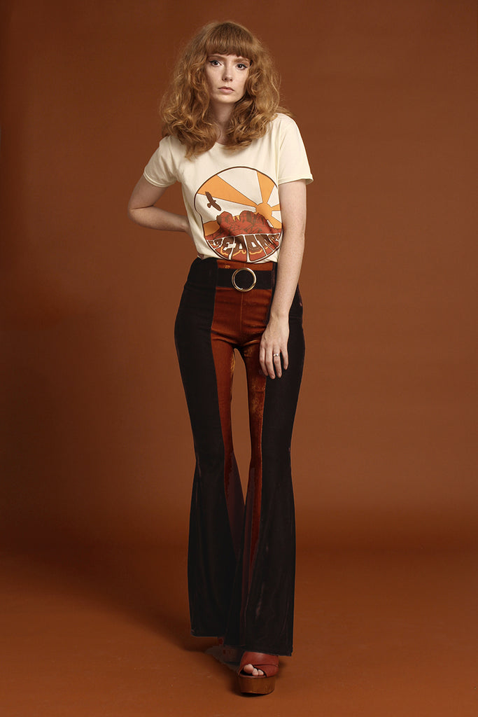 Orion Two Tone Velvet Buckle Bell Bottoms - Cocoa