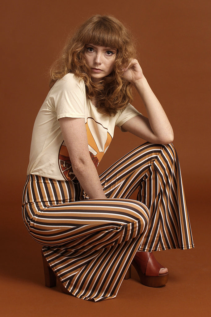 Spectrum Stripe O Ring Zip Bell Bottoms - Tawny