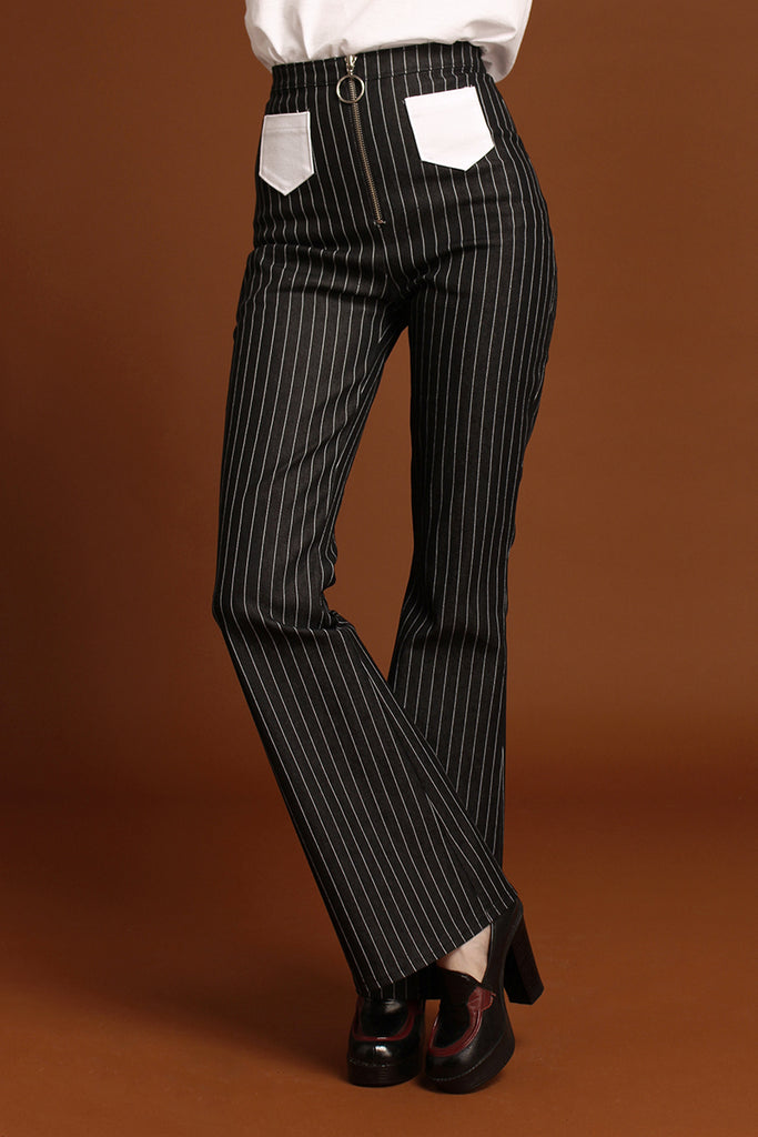 Jean Genie Pinstripe Denim O Ring Zip Flared Jeans - Black