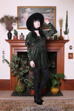 Vintage 90s Moss Velvet Smocked Medieval Mini Dress