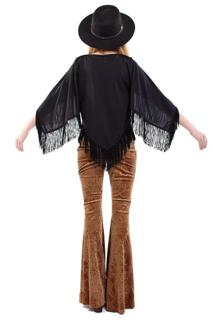 Vintage 70s Black Fringe Witchy Top
